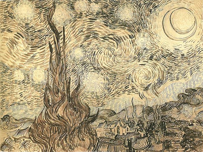 The drawing Cypresses in Starry Night, a reed pen study executed by Van Gogh after the painting in 1889. Originally held at Kunsthalle Bremen, today part of the disputed Baldin Collection